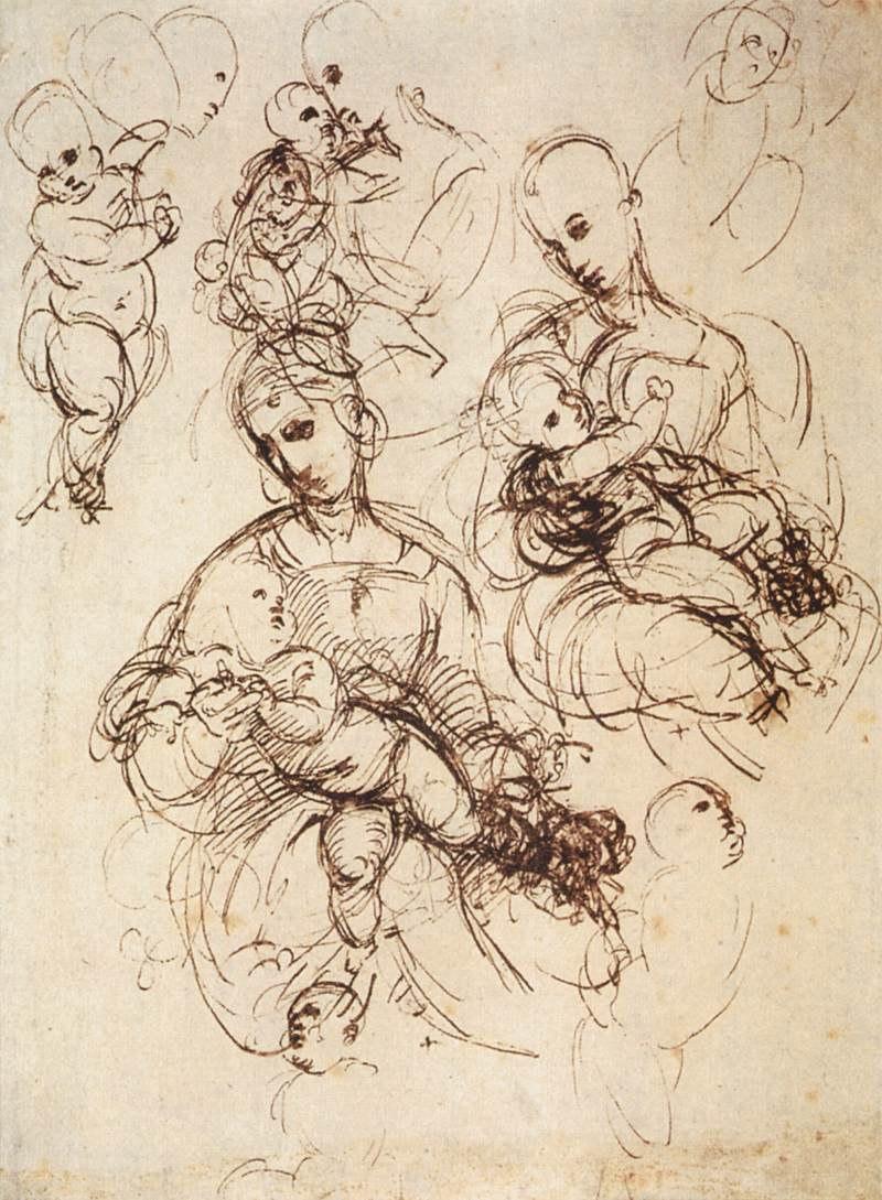 Raffaello, studi per madonne col bambino
