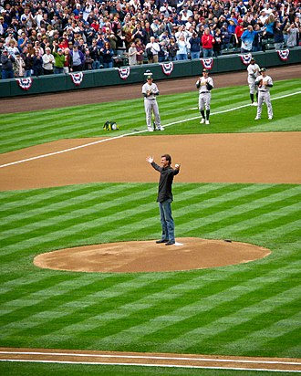 Randy Johnson - Johnson throwing out the ceremonial first pitch at the Seattle Mariners home opener at Safeco Field