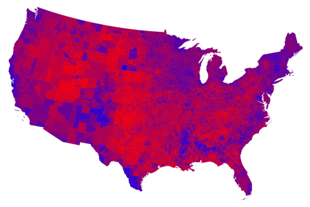 Popular vote by county shaded on a scale from red/Republican to blue/Democratic.