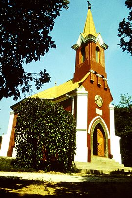 Red Chapel in Balatonboglár, 1977 Hungary.jpg