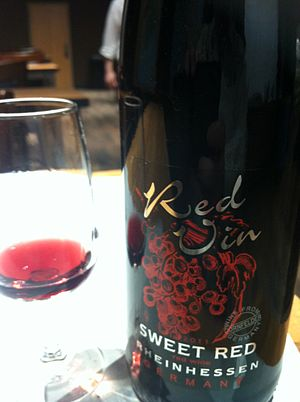 "Sweetness of wine - A red German wine labeling itself as ""sweet""."