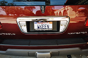 Call sign - All U.S. states issue call sign license plates for motor vehicles owned by amateur radio operators. This road vehicle is from California.
