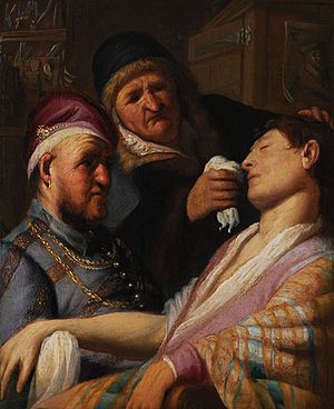 Smelling salts - In Rembrandt's Unconscious Patient (Allegory of Smell), a woman using smelling salts to revive a man who has fainted at the hands of a barber-surgeon