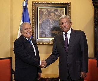El Salvador–Mexico relations - Salvadoran President Salvador Sánchez Cerén meeting with then Presidential candidate Andrés Manuel López Obrador, 2017.