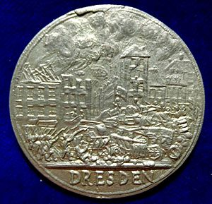 May Uprising in Dresden - Revolutionary war medal of the May Uprising in Dresden, Kingdom of Saxony, 1849, obverse, showing the street fighting.