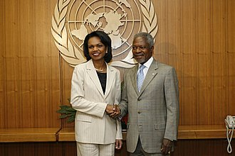 Kofi Annan - Annan with US Secretary of State Condoleezza Rice in 2006
