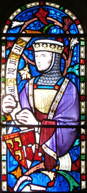 Manor of Bideford - 1860 imaginary depiction of Richard de Grenville (fl. 1295), with escutcheon showing the arms of Grenville impaling Trewent
