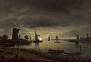 River Scene with Windmill and Boats, Evening