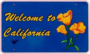 Transportation in California - Welcome to California road sign