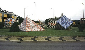 The Magic Roundabout - The 'magic roundabout' in Splott, featuring road sign sculptures.