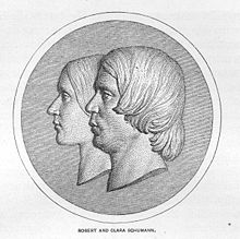 The stylized profiles of Clara and Robert Schumann (Source: Wikimedia)