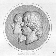 The stylized profiles of Clara and Robert Schumann (Source: Wikimedia)