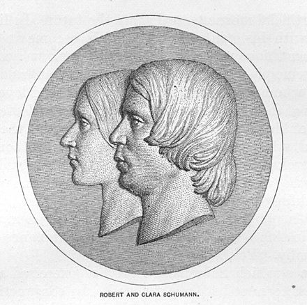 The stylized profiles of Clara and Robert Schumann Robert and Clara Schumann.jpg