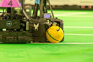 RoboCup Middle Size League - Robots of team MRL and team Water.