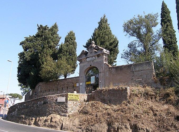 Rom, Calixtus-Katakombe, Eingangstor zum Park der Katakombe