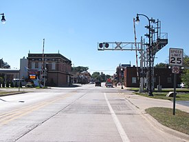 Downtown Romulus looking west along Goddard Road