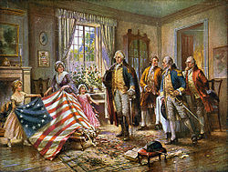 Artist's interpretation of Betsy Ross and two children presenting her sewn flag to George Washington and others