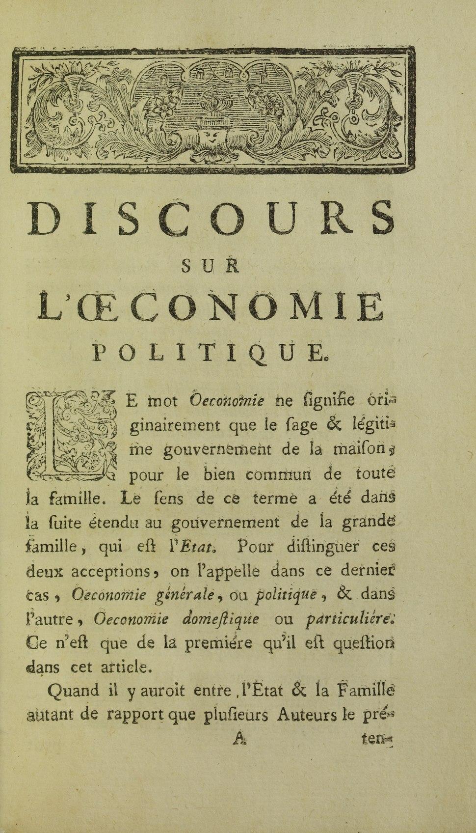 Rousseau - Discours sur l%27oeconomie politique, 1758 - 5884558
