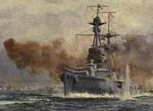 A watercolour painting of Royal Oak in action. The battleship is firing her main guns while a shell explodes in the water beside her.