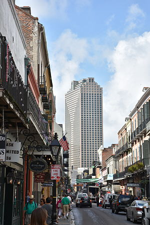 Royal Street, New Orleans - Looking southwest down Royal Street during the 2015 French Quarter Festival. (The skyscraper is the Place St. Charles office building.)