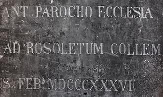 Rožnik (hill) - 1836 inscription in Visitation Church: ad Rosoletum Collem (at Rožnik Hill)