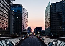 Rue de la Loi, European Quarter in Brussels during civil twilight (DSCF6957).jpg