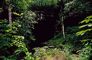 Alabama - One of the entrances to Russell Cave in Jackson County. Charcoal from indigenous camp fires in the cave has been dated as early as 6550 to 6145 BC.