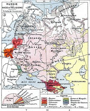 European Russia - Ethnic map of the European Russian Empire prior to the outbreak of World War I