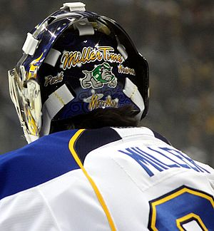 "Ryan Miller - Miller's helmet with the words ""Matt Man""."