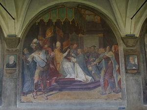 Gregorio Pagani - Gregorio Pagani, Pope Honorius III confirming the Rule of Saint Dominic, fresco.  Santa Maria Novella church, Florence, Italy