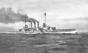 A large gray warship steams at high speed in choppy water; thick black smoke pours from three tall smoke stacks in the middle of the ship