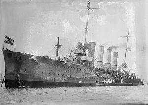 Karlsruhe-class cruiser - Karlsruhe coaling in San Juan