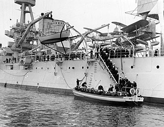 United States Naval Reserve Midshipmen's School - Image: SO Cs on USS New York (BB 34) 1940