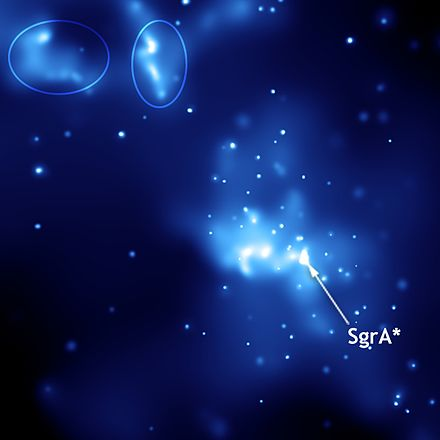 Soft X-ray image of Sagittarius A* (center) and two light echoes from a recent explosion (circled) Sagittarius A*.jpg
