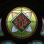 Saint Anthony Catholic Church (Temperance, MI) - stained glass, Holy Monogram.jpg