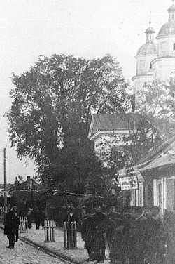 Saint Bartholomew church in Augustow before 1905.jpg