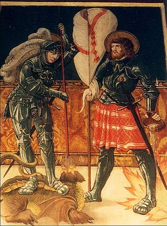 Black Army of Hungary - Saint George and Saint Florian, depicted in the armour suits of Black Army knights. Fresco of the Roman Catholic church of Pónik (Now Póniky Slovakia), 1478
