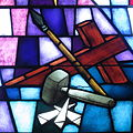 Saint James the Greater Catholic Church (Concord, North Carolina) - stained glass, instruments of the crucifixion.JPG