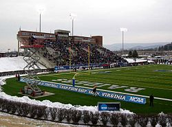 Stadium stands and field.