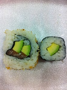 Salmon and avocado uramaki with smelt egg topping, avocado norimaki.jpg