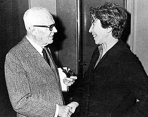 Natalia Ginzburg - Natalia Ginzburg and President Sandro Pertini, c. early 1980s
