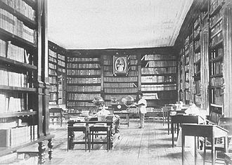 Education in the Philippines during Spanish rule - Library of the University of Santo Tomás in Manila, 1887. Created at the request of Archbishop Miguel de Benavides, O.P. of Manila in 1610, it is the oldest existing university library in Asia. It even had its own printing press which had been imported from Europe.