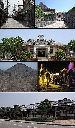 Top left: Kawaramachi-Tsumairi traditional houses preservation area, Top right: Sasayama Castle Site, 2nd: Taisho Roman Hall, former Sasayama Town Hall, 3rd left: Mount Mitake in Taki Mount Range, 3rd right: Dekansho Bon Odori in August, Bottom: Sasayama Historial Museum