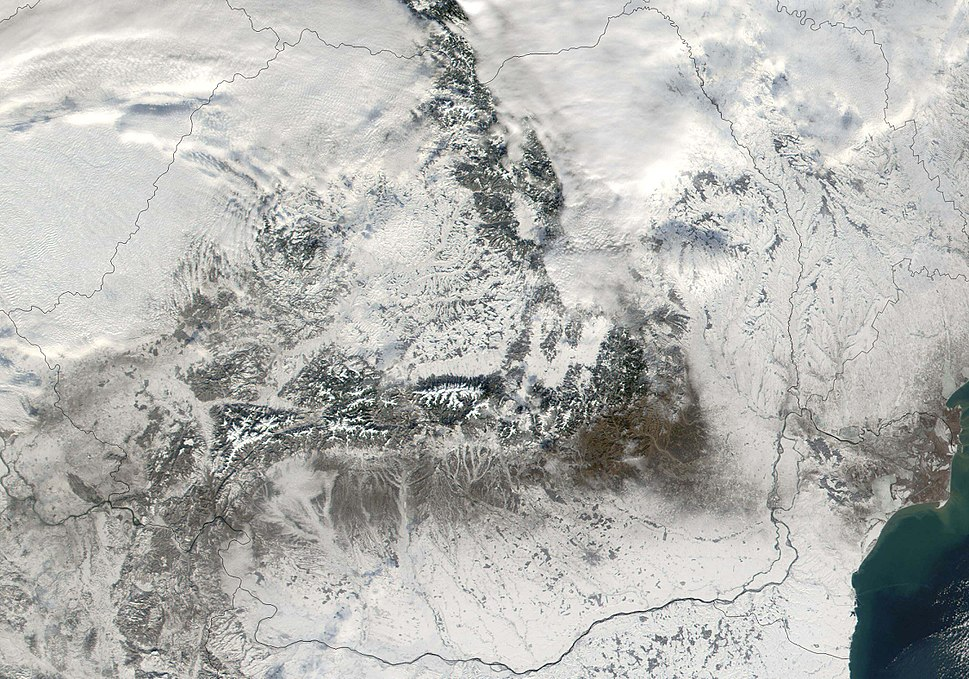 Satellite image of Romania in December 2001