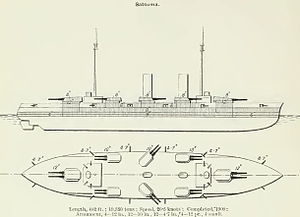 Satsuma-class battleship - Line drawing of the battleship Satsuma from Brassey's Naval Annual 1912. Aki similar, but three funnels.