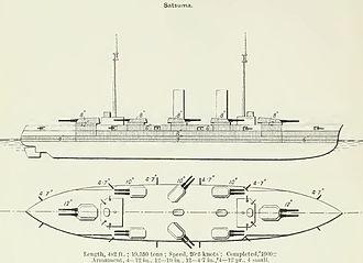 Satsuma-class battleship - Line drawing of the battleship Satsuma from Brassey's Naval Annual 1912. Aki similar, but three funnels.