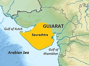 Saurashtra region within Gujarat India relief map.jpg