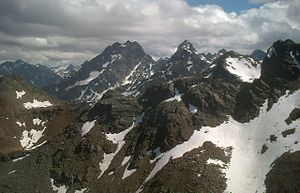 Rofelewand - Rofelewand (middle) and Gsallkopf (right) in the Kaunergrat from near the Fundusfeiler in the Geigenkamm.