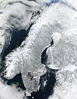 Satellitenbild Skandinavien im Winter