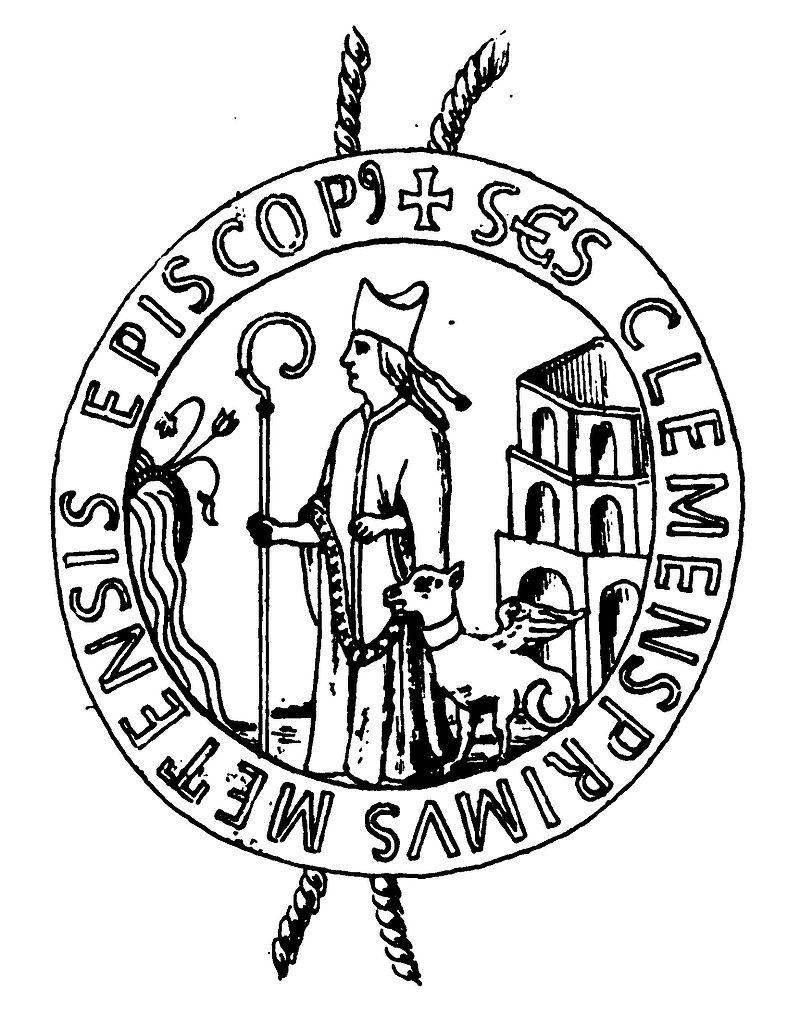 Biskop Klemens foran amfiteateret i Metz, segl for klosteret Saint-Clément i 1300